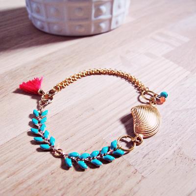 bracciale catena Seashell e le orecchie della nappa