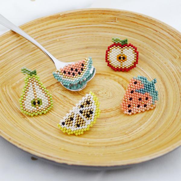 Assortiment de Pin's tranches de fruits en tissage de perles Miyuki
